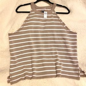 AEO Striped High Neck Collar Sleeveless Top NWT